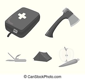 Ax, first-aid kit, tourist tent, folding knife. Camping set collection icons in monochrome style vector symbol stock illustration web.