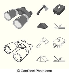 Ax, first-aid kit, tourist tent, folding knife. Camping set collection icons in outline,monochrome style vector symbol stock illustration web.