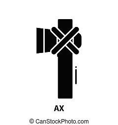 ax icon, black vector sign with editable strokes, concept illustration