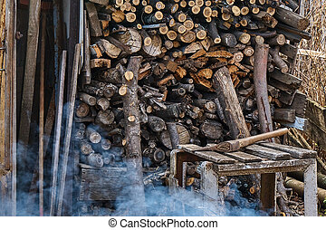Ax lying on the background of firewood