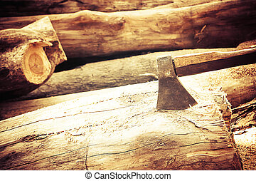ax on the timber.