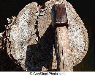 Ax with a sharp shadow on the log.