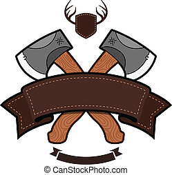 Axe emblem - Outdoor themed emblem with axe and ribbon ...
