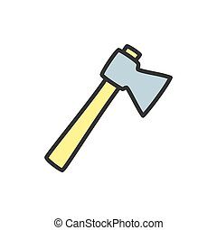 Axe flat color line icon. Isolated on white background