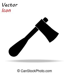 Axe icon flat. Illustration isolated vector sign symbol. Black wood ax on white background