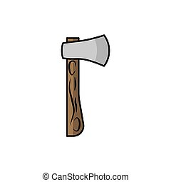Axe illustration in flat style. tool icon for design and web