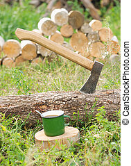 Axe in a log, closeup.Ready for cutting timber