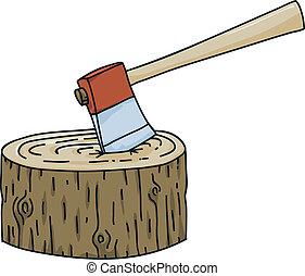Axe in Stump - A cartoon axe stuck in a tree stump.