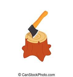 Axe in stump icon, isometric 3d style