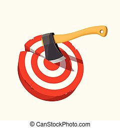 illustration of wooden axe throw in red target isolated on white background