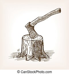Axe in the stump hand drawn sketch style vector - Axe in the...