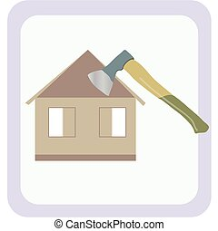 Axe - Logo. The image of a house under construction, and an...