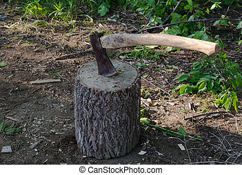 Axe on a log.