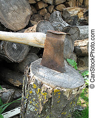 axe on a piece of wood
