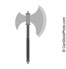 Axe slashing weapons. poleax isolated. Battle ax