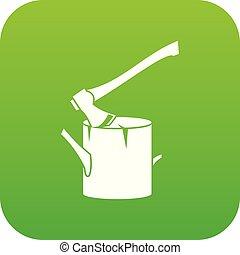 Axe stuck in a tree stump icon digital green