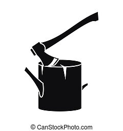Axe stuck in a tree stump icon, simple style - icon in...