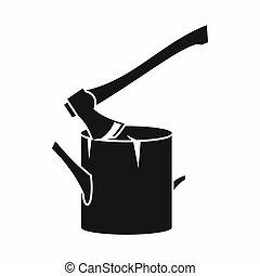 Axe stuck in a tree stump icon, simple style