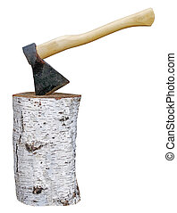 axe stuck in birch stump on white
