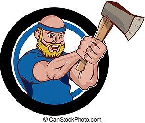 Axe throwing logo vector - A man master cartoon character ...