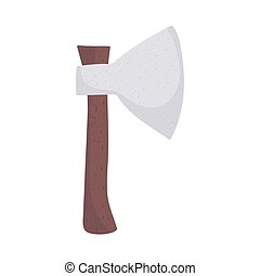axe tool wooden handle isolated icon design