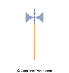Axe vector illustration icon isolated weapon. Wood hatchet design tool fire lumberjack equipment. Symbol blade wooden handle