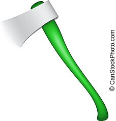 Axe with handle in green design