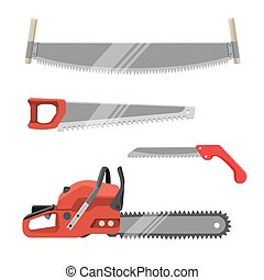 Axeman instruments set. Hand saws carpentry tools for sawing products
