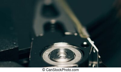 Axis of a head of computer HDD or hard disk drive - Moving...