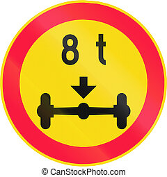 Road sign 346 in Finland - No vehicles with a weight per axle above that shown on the sign