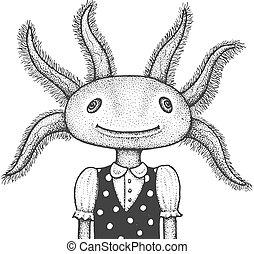 Axolotl Engraving Illustration - Funny Portrait of Axolotl -...