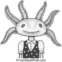 Axolotl Engraving Illustration - Funny Portrait of Axolotl...