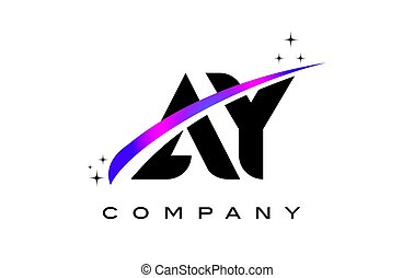 AY A Y Black Letter Logo Design with Purple Magenta Swoosh