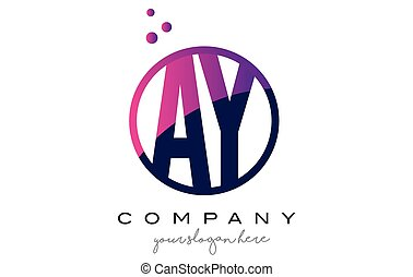 AY A Y Circle Letter Logo Design with Purple Dots Bubbles