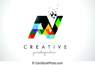AY A Y Letter Logo with Colorful Triangles Texture Design Vector.