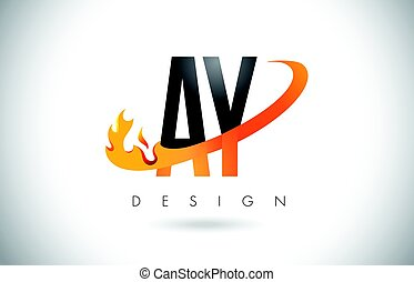 AY A Y Letter Logo with Fire Flames Design and Orange Swoosh.