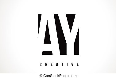 AY A Y White Letter Logo Design with Black Square.
