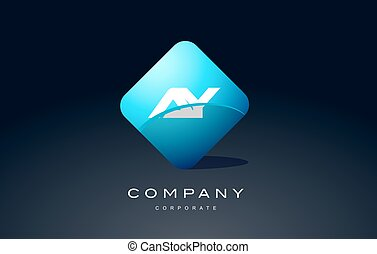 ay alphabet blue hexagon letter logo vector icon design