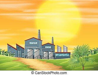 ay, scène rurale, usine