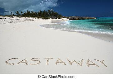 ay writing on a desrt beach of Little Exuma, Bahamas