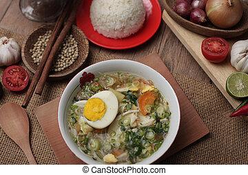 ayam, poulet, soto, servi, ou, riz blanc, indonésien