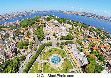 Ayasofya at Old City of Istanbul. Aerial Turkey Views. Hagia Sophia, forth largest building in the world that was made as a church.
