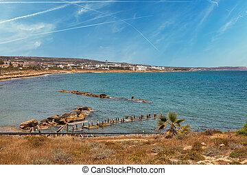 Ayia Napa cityscape with Pernera beach, Cyprus.