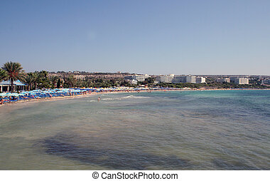 Ayia Napa Cyprus - A general view of Fig Tree Beach in the ...