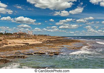 Ayia Napa rocky beach seafront, Cyprus.