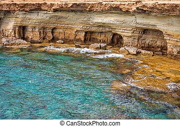 Ayia Napa rocky coastline seafront, Cyprus.