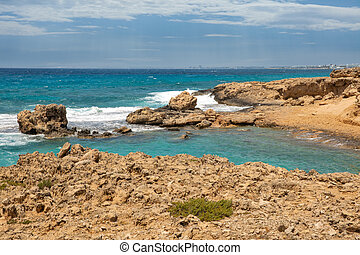 Ayia Napa rocky stormy seafront, Cyprus.