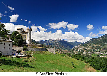 Aymavilles, Italy - summer view of Aosta Valley in...