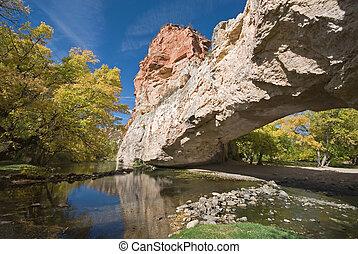 Ayres Natural Bridge - A natural bridge reflected in a creek...