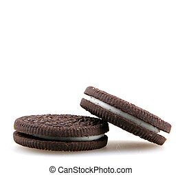 AYTOS, BULGARIA - APRIL 16, 2015: Oreo isolated on white background. Oreo is a sandwich cookie consisting of two chocolate disks with a sweet cream filling in between.
